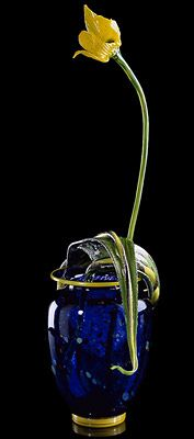 ULTRAMARINE BLUE CHIHULY-BANA WITH YELLOW FLORAL FORM, 1990