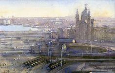 Titus Meeuws impressionist - Stationsplein Amsterdam. Aquarel. 30 x 40