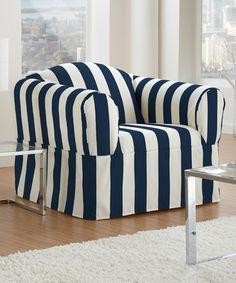 onepiece indigo cabana stripe chair slipcover