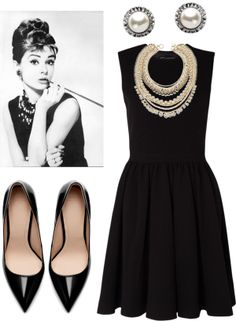 Audrey Hepburn look: dress: My-Wardrobe.com | shoes: Zara | earrings: mimco.com.au | necklace: AnnTaylor.com