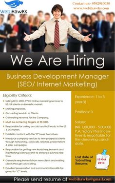 We are Hiring SEO Bidders : Webihawks Web Marketing possess great enthusiasm in concern of affordable custom website design and SEO Internet marketing services at realistic prices in Chandigarh, India. | webihawks