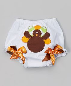 Another great find on #zulily! White & Orange Turkey Diaper Cover - Infant by Diva Daze #zulilyfinds