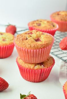 Sure you can't eat most fruits on the Keto diet, but this list of 5 keto strawberry recipes will prove to you that you can have some fruits and make some Sugar Free Muffins, Almond Flour Muffins, Gluten Free Muffins, Diabetic Muffins, Coconut Flour, Almond Milk, Strawberry Muffins Healthy, Fresh Strawberry Recipes, Healthy Muffins