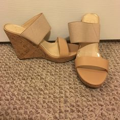 Jessica Simpson wedges Never worn. Super cute wedge with double straps. Jessica Simpson Shoes Wedges
