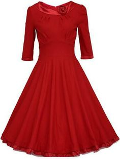 Celebrity-inspired Audrey' Hepburn Style Vintage Retro Sleeve Rockabilly Swing Bridesmaid Party Dresses for Women Vintage Dresses Online, Vintage Outfits, Vintage Red Dress, Vintage Style Dresses, Vintage Fashion, Trendy Fashion, Fashion Ideas, Vintage Clothing, Women's Fashion