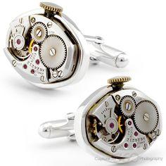 Antique 20th Century Mechanical Watch Cufflinks by Cufflinksman