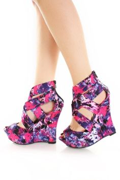 Fuchsia Multi Printed Fabric Cross Strappy Platform Wedges / Sexy Clubwear | Party Dresses | Sexy Shoes | Womens Shoes and Clothing | AMI CLubwear