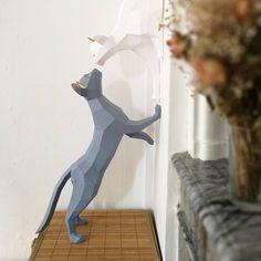 Gatos de papercraft par de gatos 2 patrones PDF esculturas