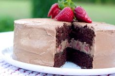 For a summery spin, layer strawberries in between the layers of cake for a sweet surprise!