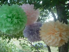 3 Tissue paper pom poms, Wedding decorations, Baby, Bridal shower, Rehearsal, Party decorations. Hanging pom poms. Hanging flower ball #‎HEPTEAM‬