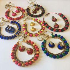 Handmade Silk Thread Necklace Set - Sarang Silk Thread Necklace, Silk Thread Bangles, Thread Jewellery, Long Tassel Earrings, Drop Earrings, Kundan Bangles, Handmade Necklaces, Necklace Set, Jewelry Sets