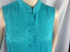 Boho Mandarin Collar Sleeveless Dress Coldwater Creek Covered Button 90s USA 10