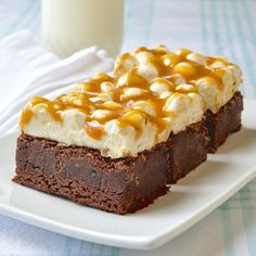 Caramel Marshmallow Brownies.  Rock Recipes.  Topping looks like fun, but any brownie recipe will be OK.  You need to freeze it once you have the caramel on it, in order to slice it.