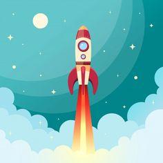 Foguete espacial voando no espaço com lua e estrelas no fundo imprimir ilustração vetorial Vetor grátis