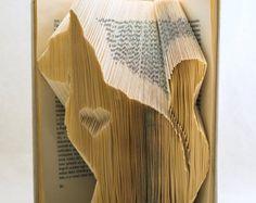 Gatto regalo animale piegato Book Art - amante degli animali libro scultura - amante dei gatti - - - Silhouette - E135