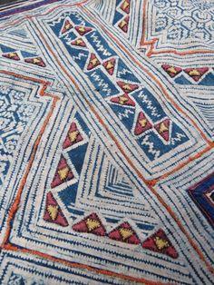 Hmong Vintage indigo Batik Cotton Fabric, handmade tapestry textiles, hill tribal fabrics