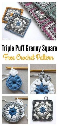 Modelo de Triple Puff Granny Square Motif libre de ganchillo
