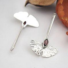 Silver and garnet Ginkgo Biloba leaf dangle earrings hammer