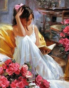 Beautiful young woman reading by Vladimir Volegov, and montage by Jesús Andrés Romero Rojas. Reading Art, Woman Reading, Vladimir Volegov, Beautiful Paintings, Oeuvre D'art, Love Art, Female Art, Painting & Drawing, Woman Painting