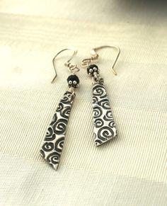 PMC Fine Silver Onyx Swirl Dangle Earrings by hbjewelrydesign, $18.00