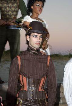 Gent's Steampunk Suspender corset, front view