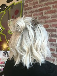 Platinum Blonde Lob Topknot