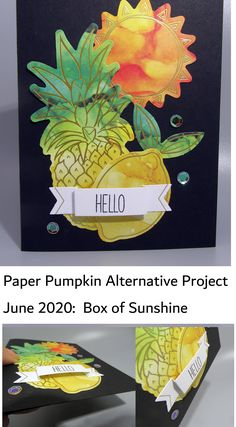 Alternate Project using materials from Stampin'Up!'s June 2020 kit: Box of Sunshine. Love the colorful pineapple, lemon and sun image on this card and the 3-D banner at the bottom. Great contrast with the black background #Stampinup Subscription is only $22 USD/mo for the fun, the projects AND a stamp set. Box Of Sunshine, Blog Images, Paper Pumpkin, 3 Things, Black Backgrounds, 3 D, Stampin Up, Pineapple, Contrast