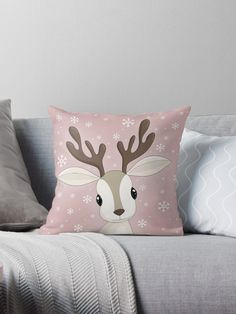 'Cute Reindeer ' Throw Pillow by ValentinaHramov Christmas Stocking Pattern, Christmas Applique, Christmas Sewing, Christmas Cushions, Christmas Pillow, Felt Christmas, Blue Christmas Decor, Christmas Crafts For Kids, Diy Pillows