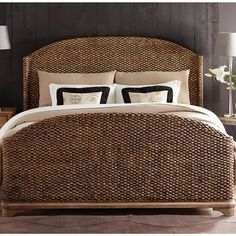 sherborne seagrass woven bed in toasted pecan by riverside furniture - Wicker Bed Frame