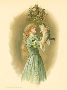 Victorian 1896 Ernest Nister  Antique Children's Print Young Girl With Red Curly Hair wearing A Green Dress Holding Kitten Cat Under The Mistletoe