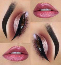 Sexy Makeup Looks for Eyes Pink Eye Makeup, Glitter Eye Makeup, Makeup Eye Looks, Beautiful Eye Makeup, Eye Makeup Art, Sexy Makeup, Glam Makeup, Eyeshadow Makeup, Makeup Cosmetics