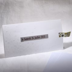 Faire-part Mariage - ref 49534 Collection Faire-part Mariage Duo 2016 www.fairepartselection.fr  Tendance, moderne, gaufre, fleurs, nature, blanc, liberty, vert, personnalise