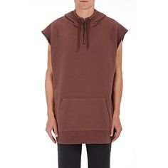 Robert Geller Men's Cotton Hooded Tank ($330) ❤ liked on Polyvore featuring men's fashion, men's clothing, men's shirts, men's tank tops, purple, mens purple shirt and mens tank tops