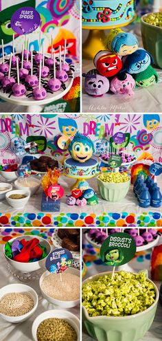 create an inside out party everyone will love, food for each character, activities and toys. like green popcorn for disgust's broccoli, and spider pops for fear