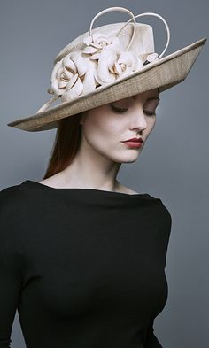 2962161ddbc3e3 Rachel Trevor Morgan Millinery Autumn Winter 2016 Natural side sweep hat  with natural straw camellias (