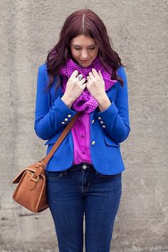 fashion inspiration bright blue jacket blazer purple shirts shoulder bag brown jeans spring autumn apparel style women fashion clothing outfit