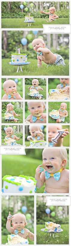 FIRST BIRTHDAY CAKE SMASH! | CHELAN, WA | www.sarahhartboyd.com  Love the balloons in the distance