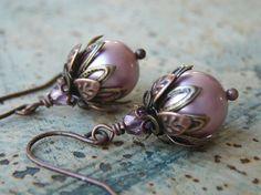 Dainty Pearl Earrings Beaded Pink Pearl by AFineDistraction