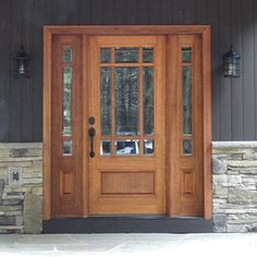 Marginal TDL Mahogany Wood Craftsman Style Entry Door with Two Matching Sidelites Craftsman Style Front Doors, Exterior Front Doors, Exterior House Colors, Craftsman Door Exterior, Exterior Design, Entry Door With Sidelights, Wood Entry Doors, Entrance Doors, Wooden Doors