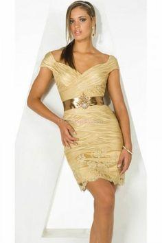 Sheath/Column Sweetheart Natural Short Sleeve Short/Mini Homecoming Dresses With Criss-Cross HD1370