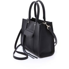 Rebecca Minkoff MAB Mini Tote (620 PEN) ❤ liked on Polyvore featuring bags, handbags, tote bags, purses, black purse, black tote, rebecca minkoff tote, black leather handbags and zippered tote