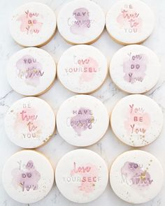 These beautiful watercolour cookies are for a workshop next week for empowering teen girls run by 💕 The script… Paint Cookies, Fondant Cookies, Iced Cookies, Biscuit Cookies, Cute Cookies, Royal Icing Cookies, Yummy Cookies, Cupcake Cookies, Sugar Cookies