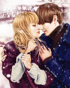 Pin by susan brown on bts girlfriend fanart /concept in 2019 Kpop Drawings, Couple Drawings, Cartoon Drawings, Pencil Drawings, Kpop Couples, Cute Anime Couples, Kpop Fanart, K Pop, Bts Girlfriends