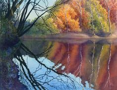 Autumn art watercolor painting landscape print of original by Cathy Hillegas, Autumn On Blue River II