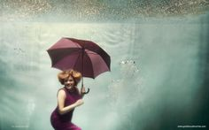 underwater, umbrella, rain