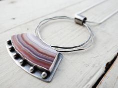 Layers Revealed || organic circles with pink and white agate cabochon || metalsmith stone pendant (6128) Cool Necklaces, Metal Necklaces, White Agate, Copper Jewelry, Stone Pendants, Sterling Silver Pendants, Circles, Layers, Lost