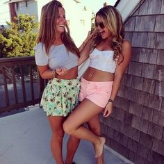 Love the outfit of the girl on the left. Not so much the right...