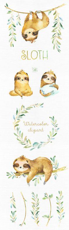 Sloth. Little animals watercolor clipart sleepy sloths | Etsy Animals Watercolor, Watercolor Clipart, Watercolor Art, Animal Set, Sloth Animal, Babyshower, Conception Web, Sleepy, Russian Tortoise