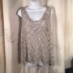 """Eileen Fisher Knit Crochet """"green"""" Top M gray whit Beautiful """"green"""" top (recyclable) by Eileen Fisher - tag at top removed because you could see it when worn but care tag shows brand. No issues worn three times, dry cleaned. Eileen Fisher Tops"""
