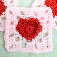 Heart granny square crochet pattern.  Perfect for Valentine's Day gifts.  Pin to knitting or crochet board.